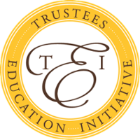 Trustees Education Initiative round symbol with TEI in the middle