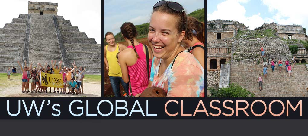 UW's global class room, picture of students around the world studying