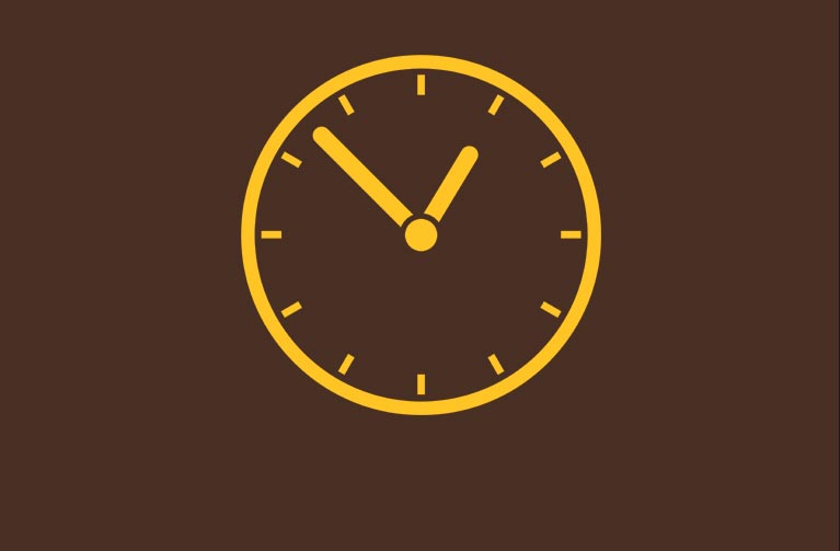 Image of a clock used to indicate office hours.