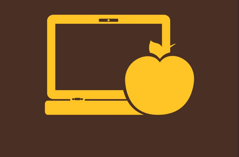 image of computer with apple