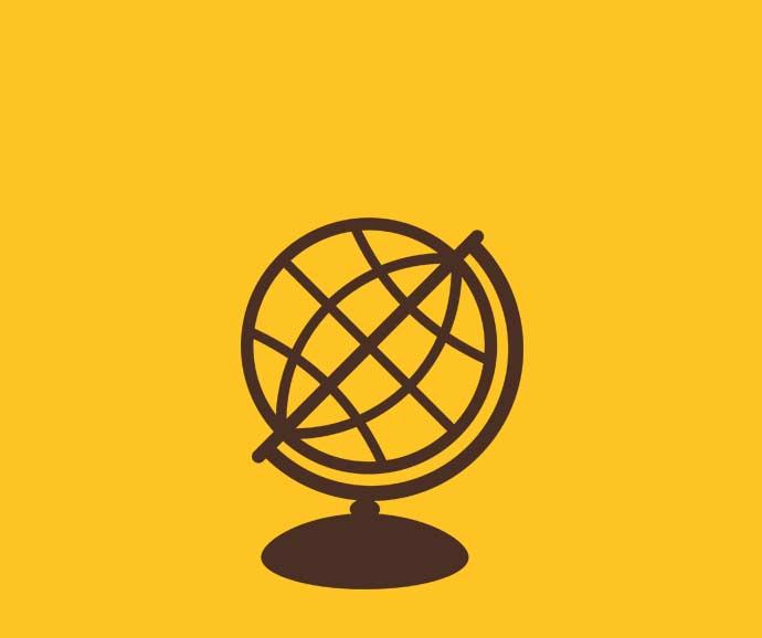 Brown globe against a yellow background
