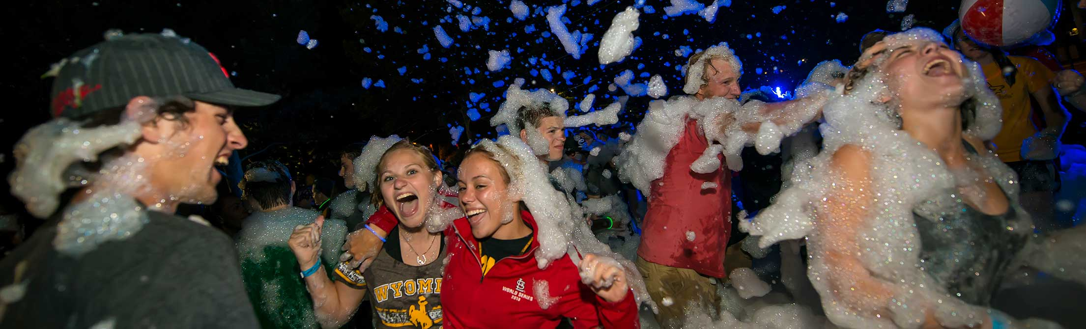 University of Wyoming students enjoy a foam party, one of the possible Summer Bridge activities students may encounter.