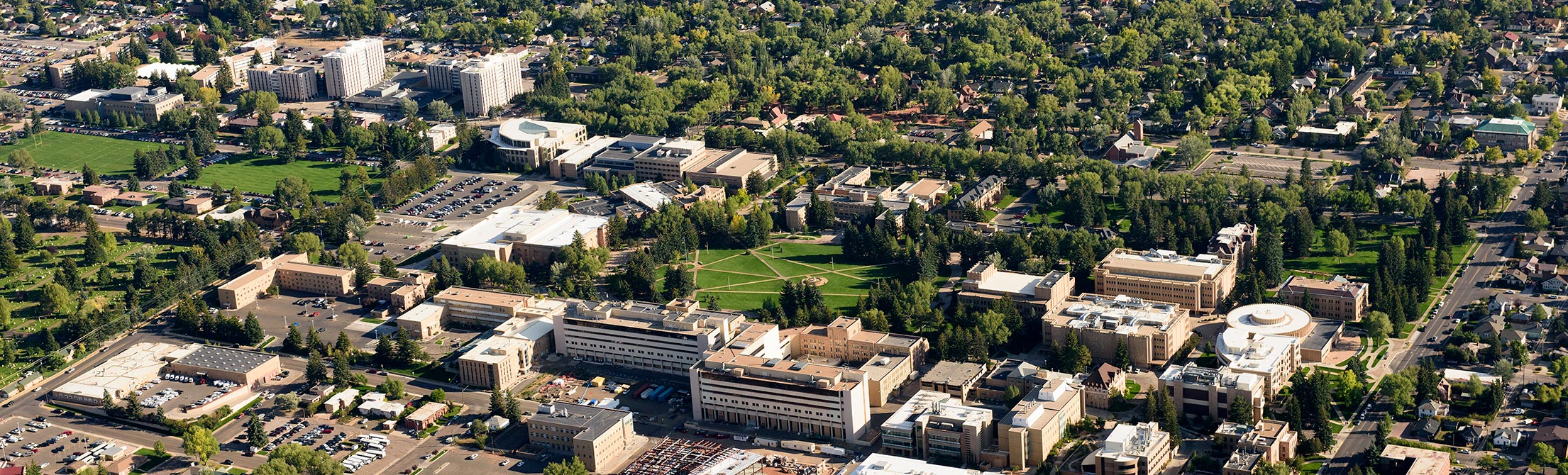 A bird's eye view of the University of Wyoming campus.