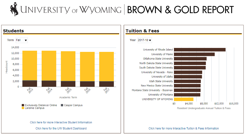 University of Wyoming Brown & Gold Report splash image