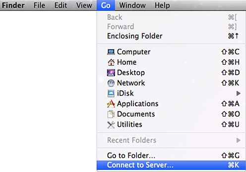 Finder, Connect to Server... window