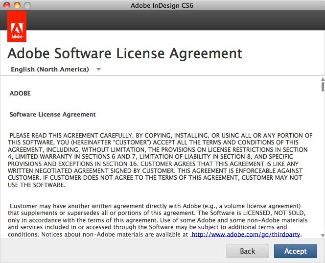 Adobe Software License Agreement window