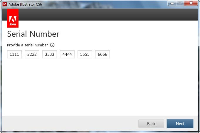 Serial Number window