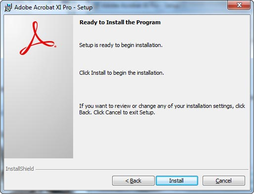 Adobe Acrobat XI Pro - Setup window