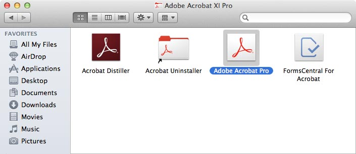 Adobe Acrobat XI Pro window