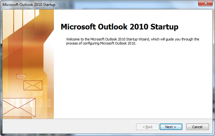 Microsoft Outlook 2010 Startup window