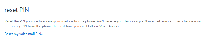 Reset Voice Mail PIN confirmation window