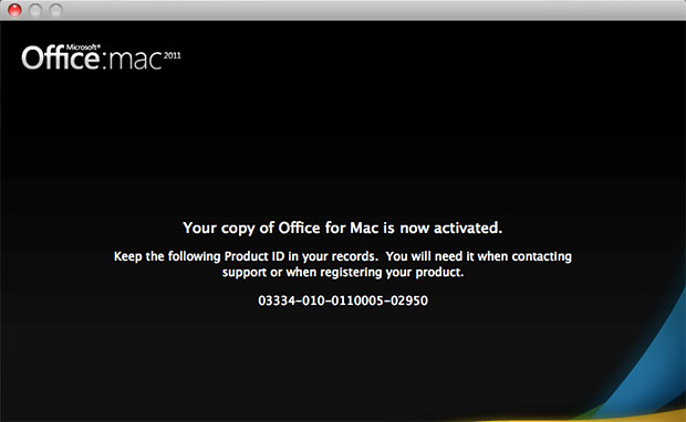 Your copy of Office for Mac is now activated window