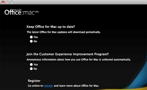 Keep Office for Mac up to date? window
