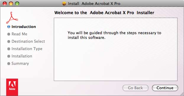 Welcome to the Adobe Acrobat X Pro Installer window