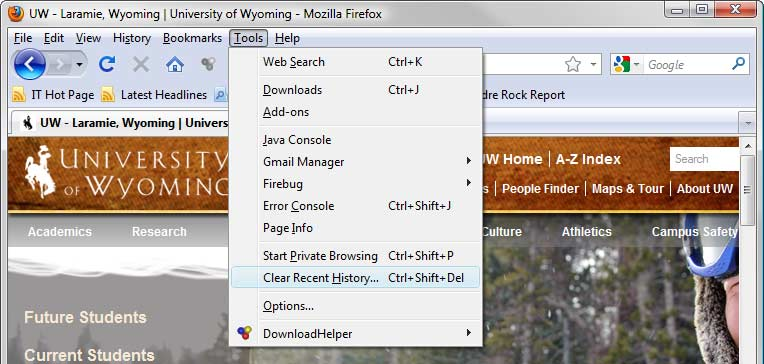 Firefox browser window, Tools menu