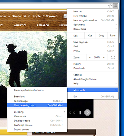 Chrome browser window, Customize and control Google Chrome menu