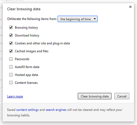 Clear Browsing Data window