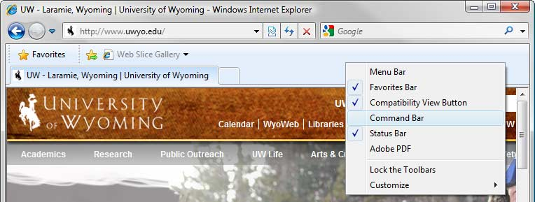 Internet Explorer browser window, Toolbars menu