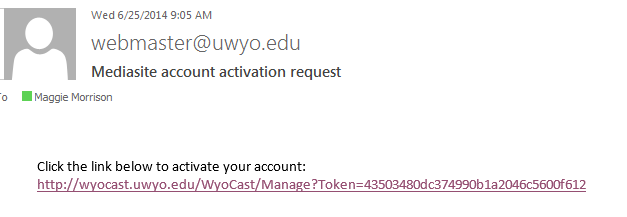 Activation Email