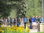 Students walking through prexys pasture on campus