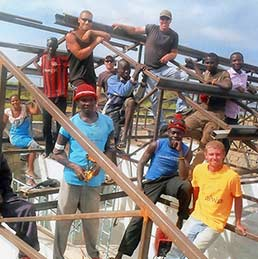 Engineers Without Borders members built a dormitory in Africa in 2016.