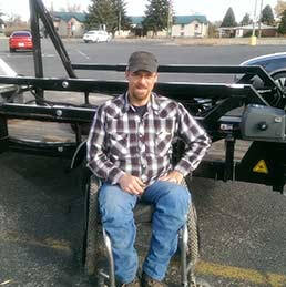 The president of the Wyoming Disabled Hunters sees the adaptive hunting trailer.