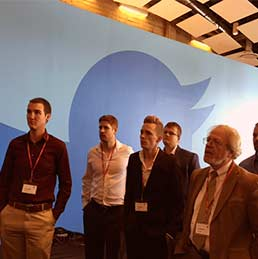 Students tour the Twitter headquarters.