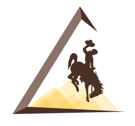 Icon of Wyoming's Steamboat bucking horse surrounded by an incomplete triangle with yellow mountains in the background