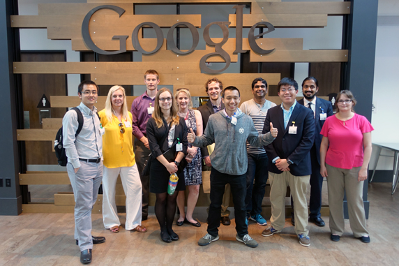 Group photo of Silicon Valley Summit group in Google headquarters