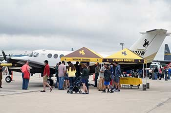 Attendees of the Wyoming Air National Guard Open House event tour UW's King Air research aircraft. (Photo courtesy Sgt. 1st Class Jimmy McGuire)