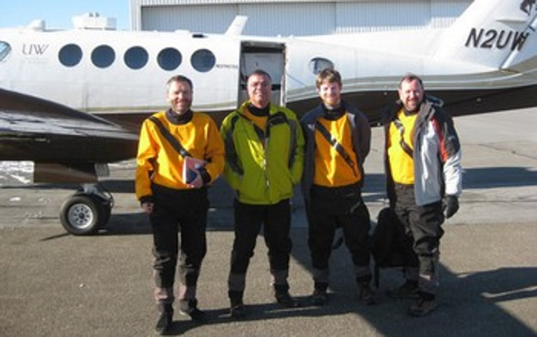 The NSF-funded King Air scientific crew after one of its flights through a lake-effect snowstorm.