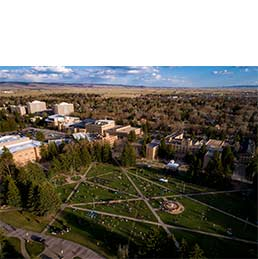 Aerial shot of University of Wyoming campus
