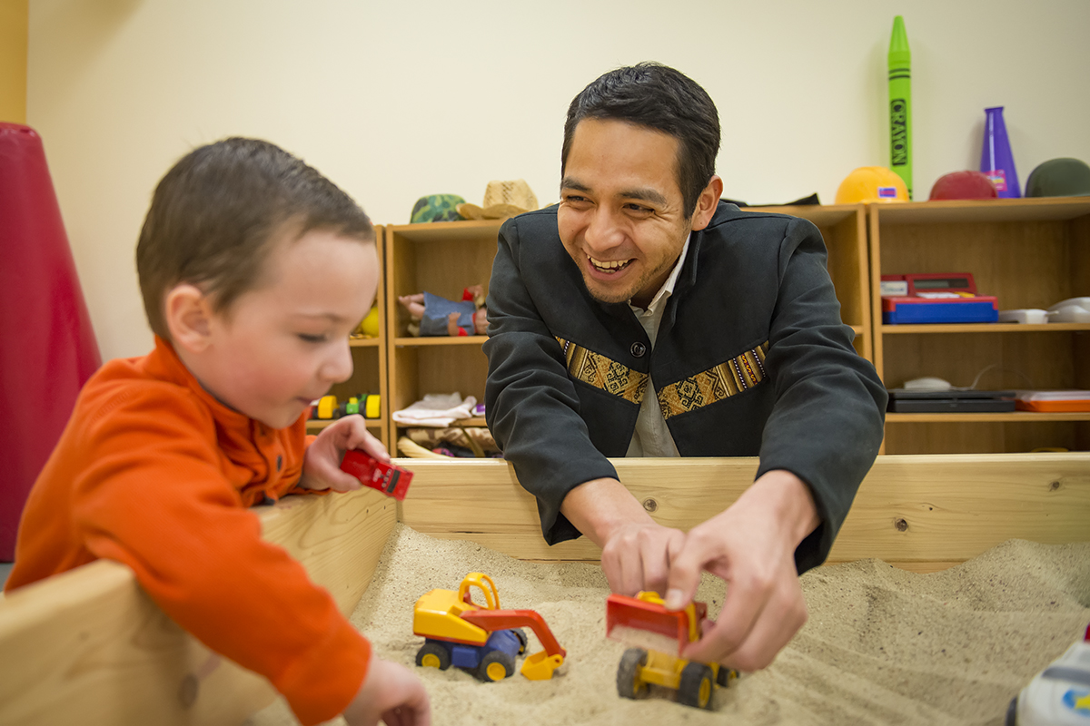 Play therapy counseling school of counseling leadership counseling student with small child in play therapy room 1betcityfo Gallery