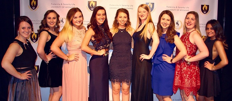 1a06a3e3a31 Panhellenic Exec at the FSL Awards all in beautiful different color dresses  for the occasion
