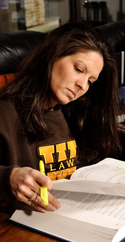 Student studying at the University of Wyoming College of Law