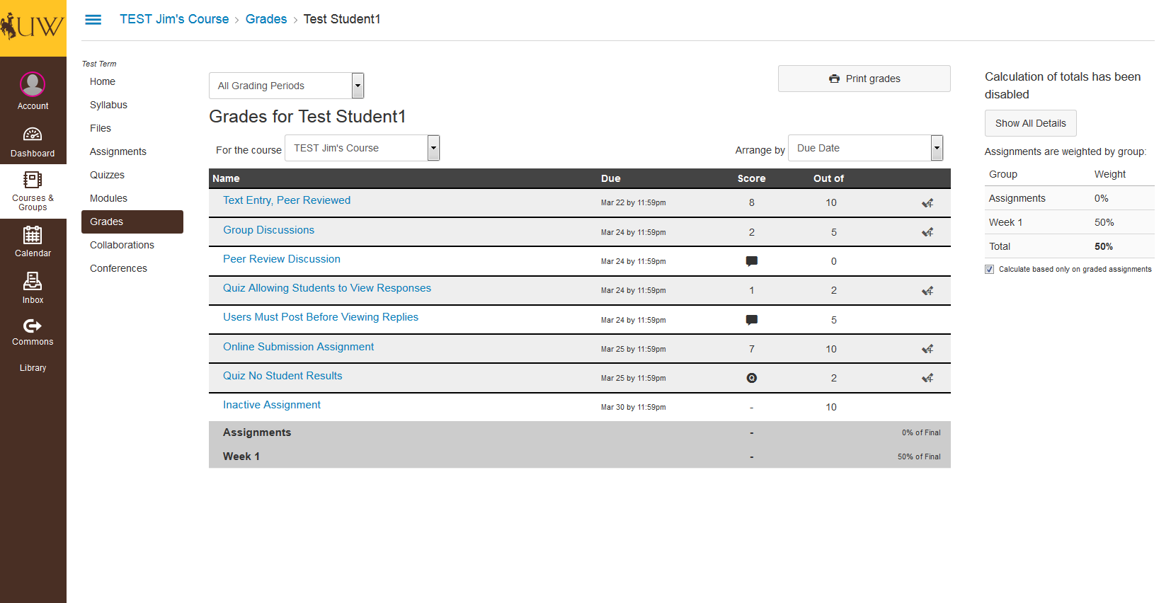 image showing advisor's view of grades tool in wyocourses