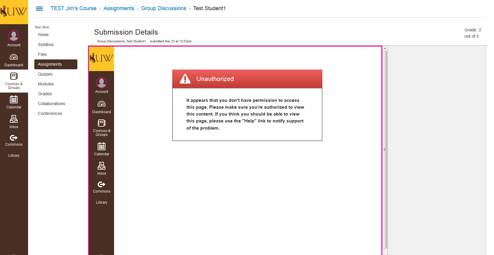 image showing advisor is not authorized to view discussion contributions by other students