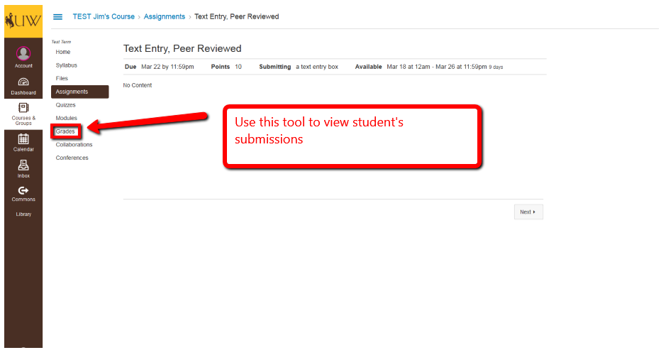 image showing that the Grades tool is how advisors access student submissions.