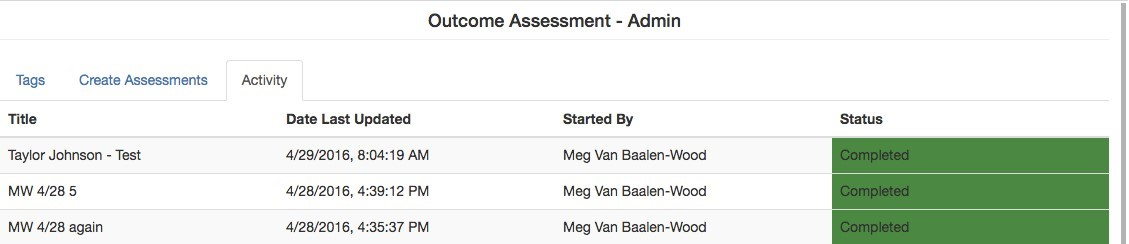 'Activity' tab of Assessment LTI showing that the status of three assessments are completed.