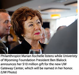 Philanthropist Marian Rochelle listens while University of Wyoming Foundation President Ben Blalock announces her $10 million gift for the new UW Gateway Center, which will be named in her honor.