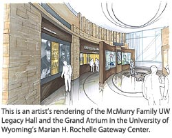 This is an artist's rendering of the McMurry Family UW Legacy Hall and the Grand Atrium in the University of Wyoming's Marian H. Rochelle Gateway Center.