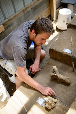 man carefully excavating artifact with small tool