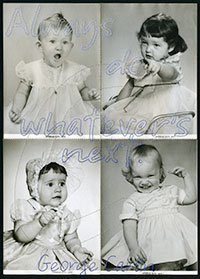 four old photos of babies and toddlers with words embroidered on them