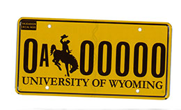 license plate with gold background and brown bucking horse and numbers