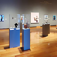 displays on podiums at the art museum