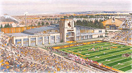 artist's conception of football stadium after performance center completion