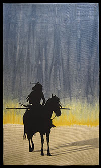 painting of a silhouette of a Native American on a horse