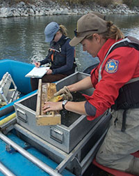 two women in a boat inspecting trout and recording data on a clipboard