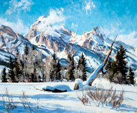 painting of snowy mountains