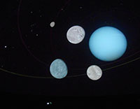 the planet uranus with its moons